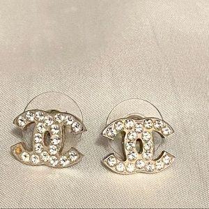 Chanel CC stud earrings Swarovski crystal